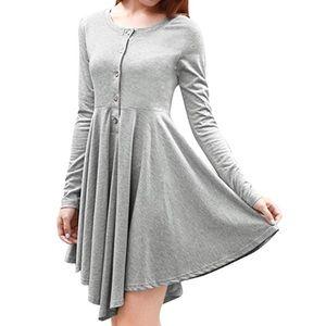 Long Sleeves Asymmetric Pleated Dress